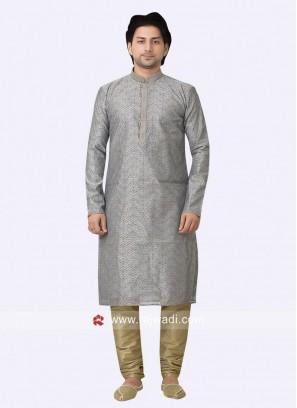 Art Silk Fabric Light Grey Color Kurta Pajama