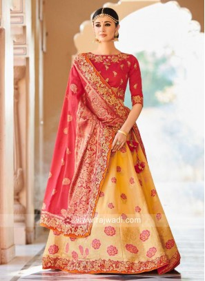 Brocade Flower Work Lehenga