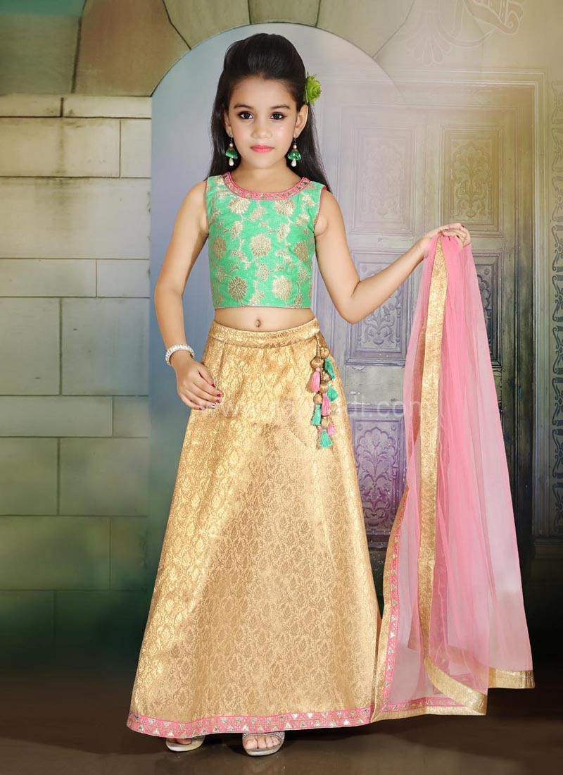 Brocade Girls Choli Suit