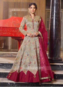 Brocade Grey And Maroon Anarkali Suit