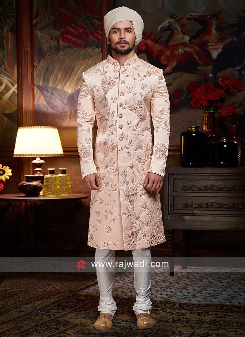 Light Pink Color Sherwani For Wedding