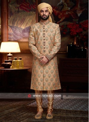 Light Orange Sherwani For Wedding