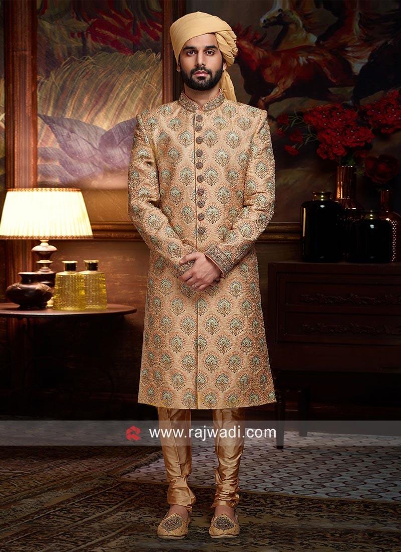 Light Orange Sherwani For Wedding