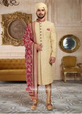 Designer Golden Sherwani With Designer Dupatta