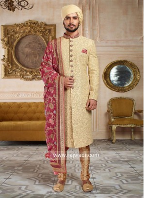 Designer Golden Sherwani With Designer Dupatta