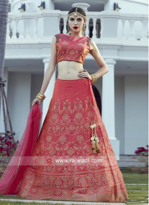 Brocade Lehenga Choli in Dark Peach
