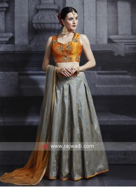 Brocade Lehenga Set with Shaded Dupatta