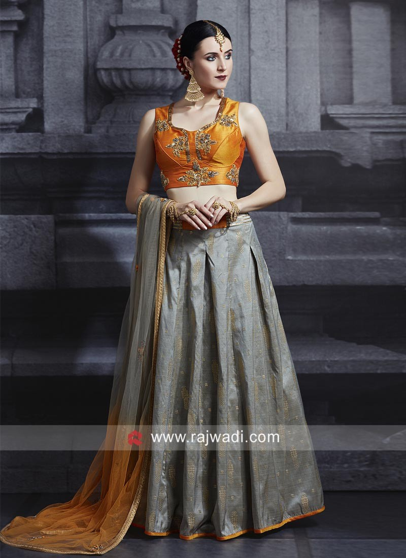 Brocade Choli Suit with Shaded Dupatta