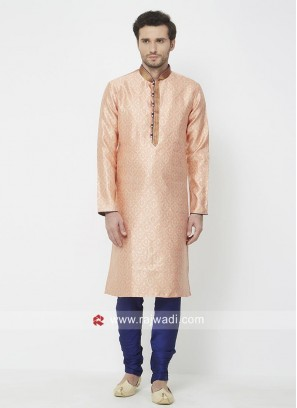 Brocade Orange Color Kurta Set