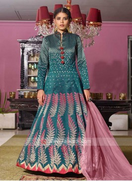 Brocade Peacock Blue Anarkali Suit