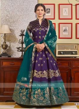 Brocade Purple And Green Anarkali Suit