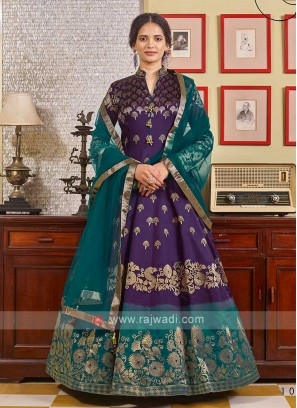 Brocade Purple And Green Anarkali Suit