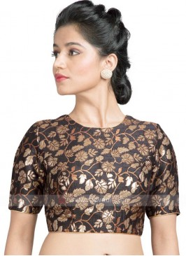 Brocade Ready Blouse In Black