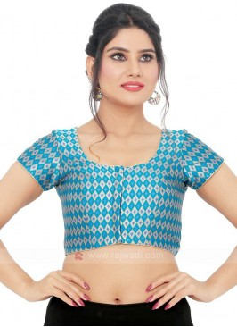 Brocade Ready Blouse In Blue