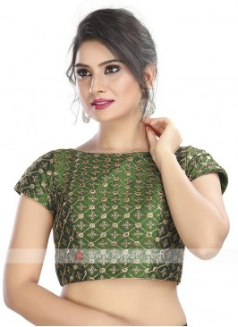 Brocade Ready Blouse In Bottle Green
