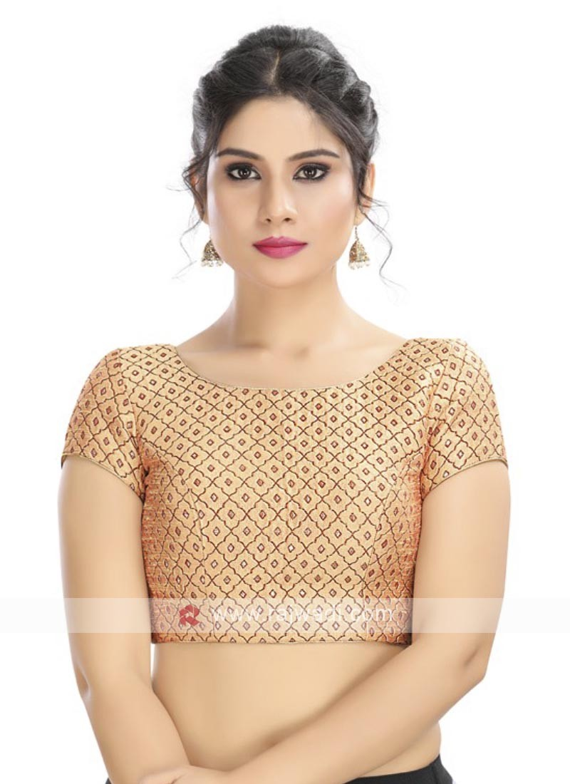 Brocade Ready Blouse In Gold