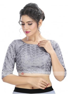 Brocade Ready Blouse In Grey