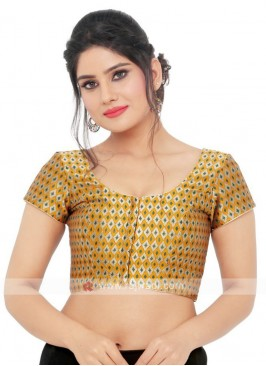 Brocade Ready Blouse In Mustard Yellow