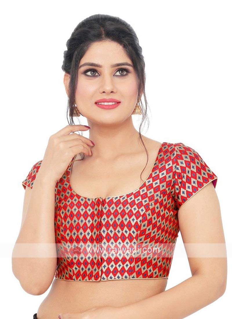 Brocade Ready Blouse In Red