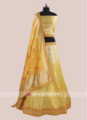 Brocade Shaded Wedding Reception Lehenga