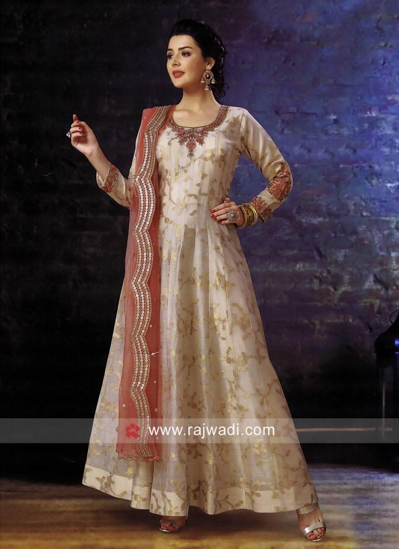 Brocade Silk Anarkali Suit