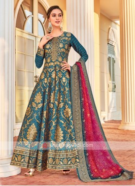 Brocade Silk Anarkali Suit In Peacock Blue