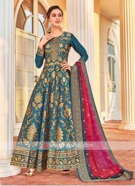 Brocade Silk Anarkali Suit In Peacock Blue