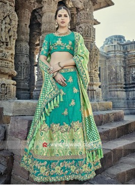 Brocade Silk and Butter Silk Lehenga Set with Tassels