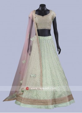 Brocade Silk and Raw Silk Lehenga Choli