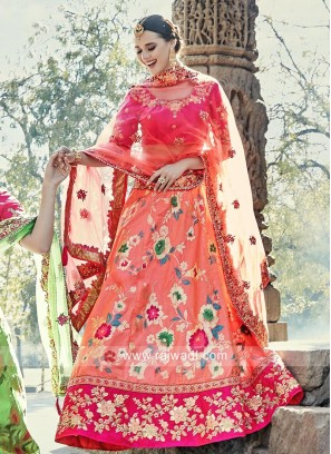 Brocade Silk and Raw Silk Lehenga Set