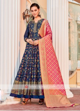 Brocade Silk Blue Anarkali Suit