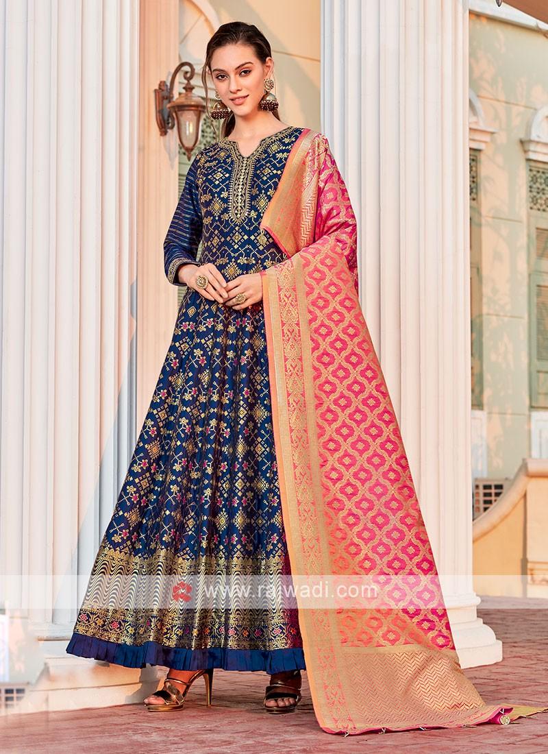 Brocade Silk Blue Anarkali Suit