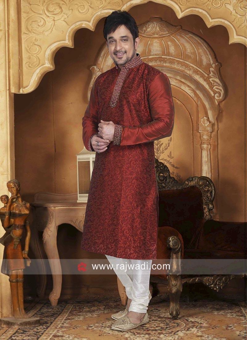 Dupion Silk Maroon Color Kurta Pajama