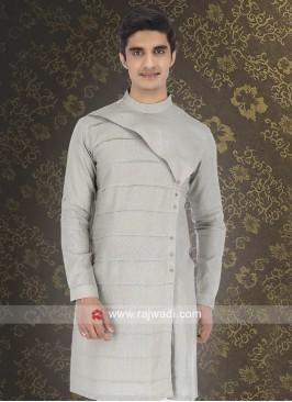 Pale Grey Linen Kurta