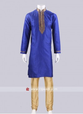 Brocade Silk Blue Color Kurta Pajama