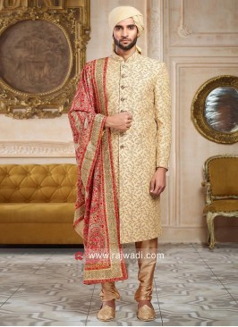 Silk Fabric Golden Sherwani With Designer Dupatta