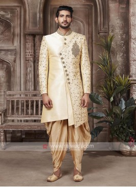 Brocade Silk Cream And Golden Sherwani