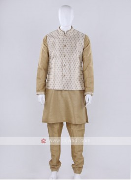 Brocade silk  cream color nehru jacket