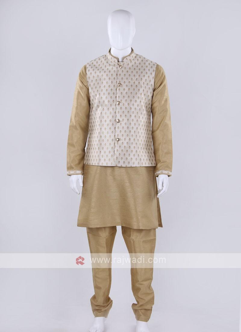 Brocade silk  cream color nehru jacket
