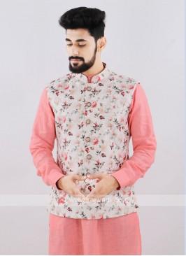 Brocade Silk Cream Printed Nehru Jacket