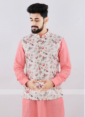 Brocade Silk Cream Printed Nehru Jacket