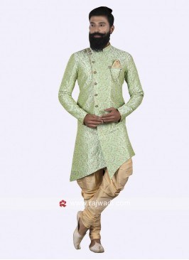 Layered Pista Green Indo Western