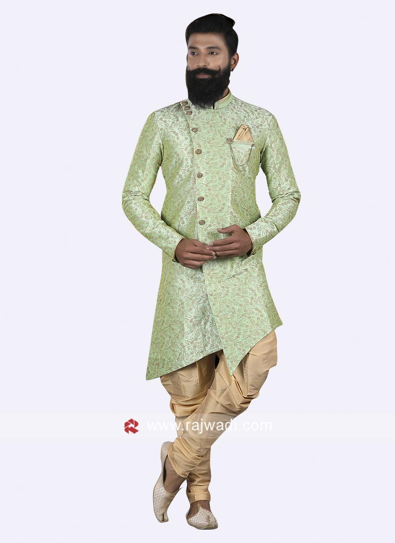 Layered Pista Green Indo Western