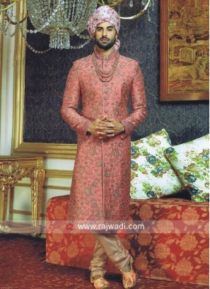 Brocade Silk Peach Sherwani