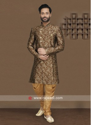 Brocade Silk Fabric Brown Indo Western