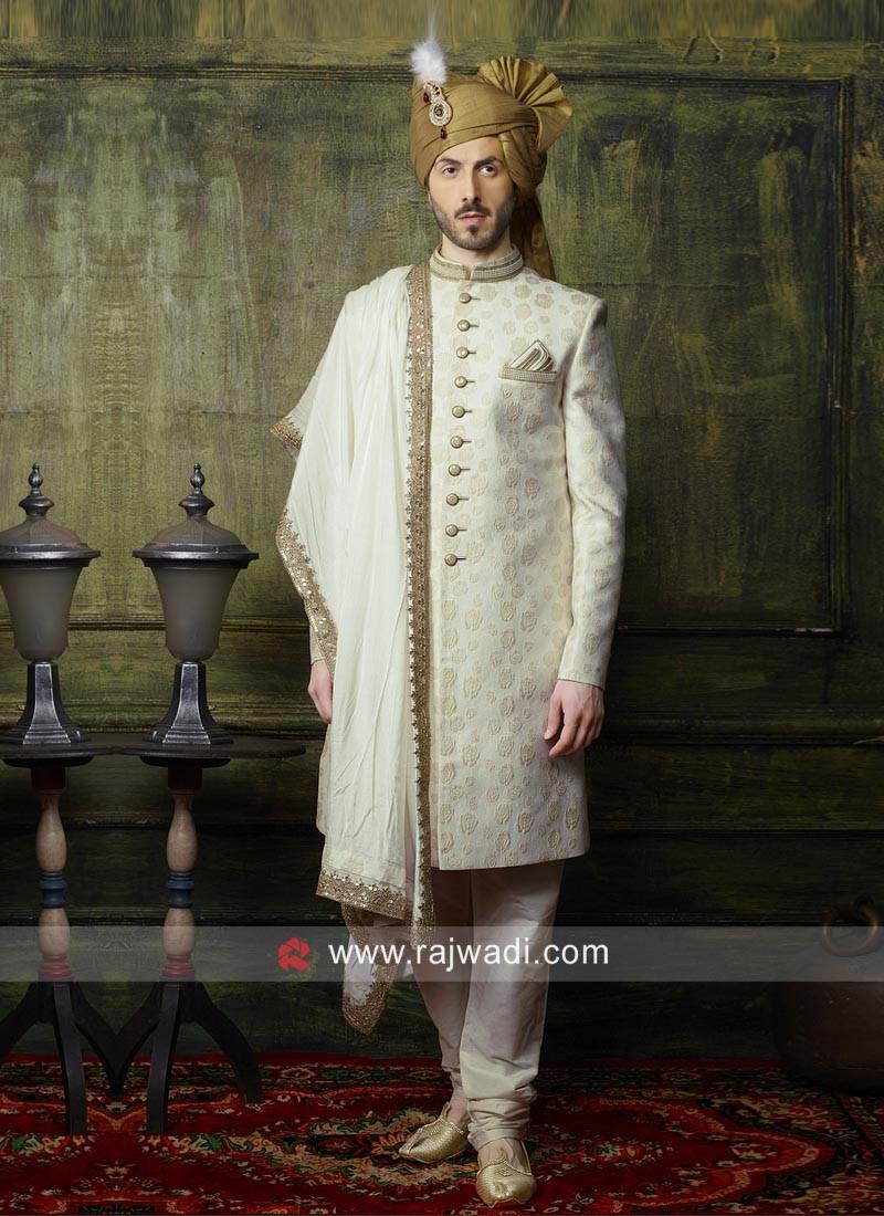 Brocade Silk Fabric Cream Indo Western For Wedding