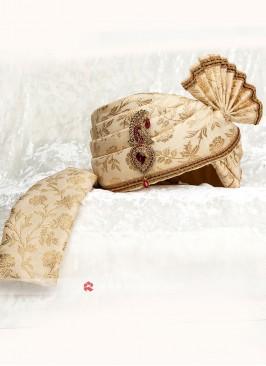 Brocade Silk Fabric Golden Safa