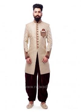 Brocade Silk Fabric Indo Western With Velvet Patiala