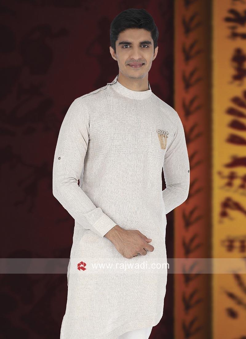 Cream Linen Fabric Kurta For Wedding