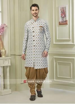 Brocade Silk Fabric Light blue Color Patiala Suit